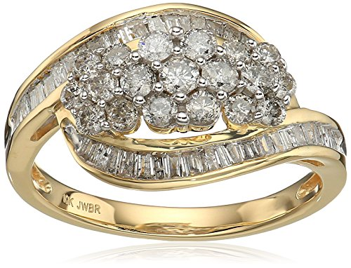 10k Yellow Gold Diamond 3 Cluster Ring (1 cttw), Size 7 by Amazon Collection