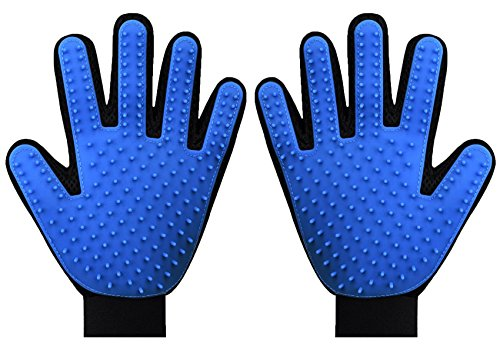 Pet Grooming Gloves, Pet Hair Remover Mitt, Pet Deshedding Brush Gloves, Perfect for Dog & Cat with Long & Short Fur - 1 Pair (Blue)