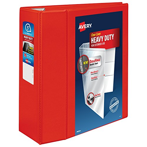 Avery Heavy Duty View Binders with One Touch EZD(TM) Ring, Holds 8-1/2 Inch x 11 Inch Paper, 5 Inch Ring, Red (79327)