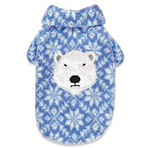 Arctic Applique - Elements Jacket For Dogs Blue Snowflake Pattern With Arctic Polar Bear Applique (xSmall)