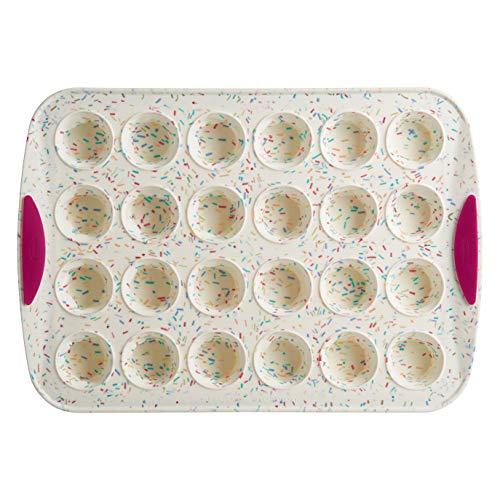 Trudeau 05118554 24 Count Mini Muffin Pan Silicone Bakeware, Confetti White