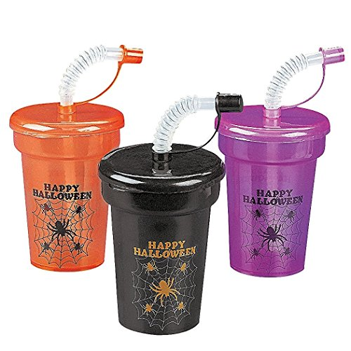 [Plastic Halloween Mini Cups with Lids] (Cup Halloween Sipper)