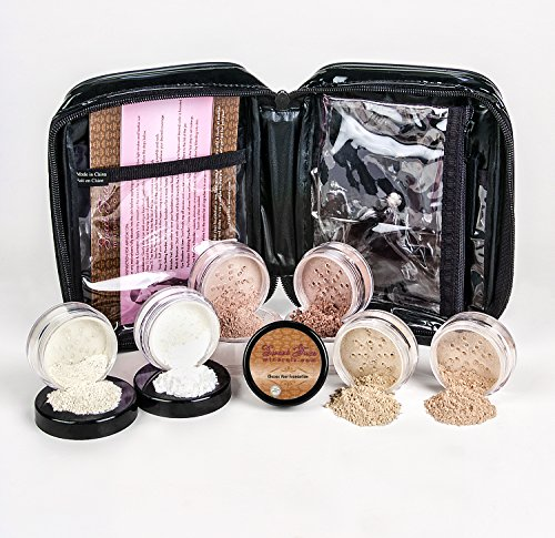 Mineral Makeup XXL KIT w/ COSMETIC CASE Full Size Set Sheer Bare Skin Powder Cover (Warm (neutral- most popular)) (Bare Minerals Makeup Bag)