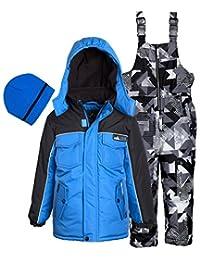 Ixtreme Little Boys Down Alternative Heavy Skiing Snowsuit Jacket Bib Bonus Hat, Blue, 3T