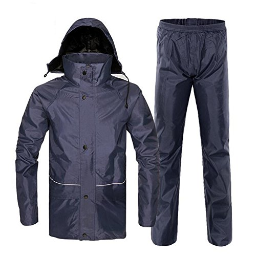 DuShow Waterproof Rain Suit Jacket and Trousers Windproof Bad weather Gear Suit(Navy Blue,XL)