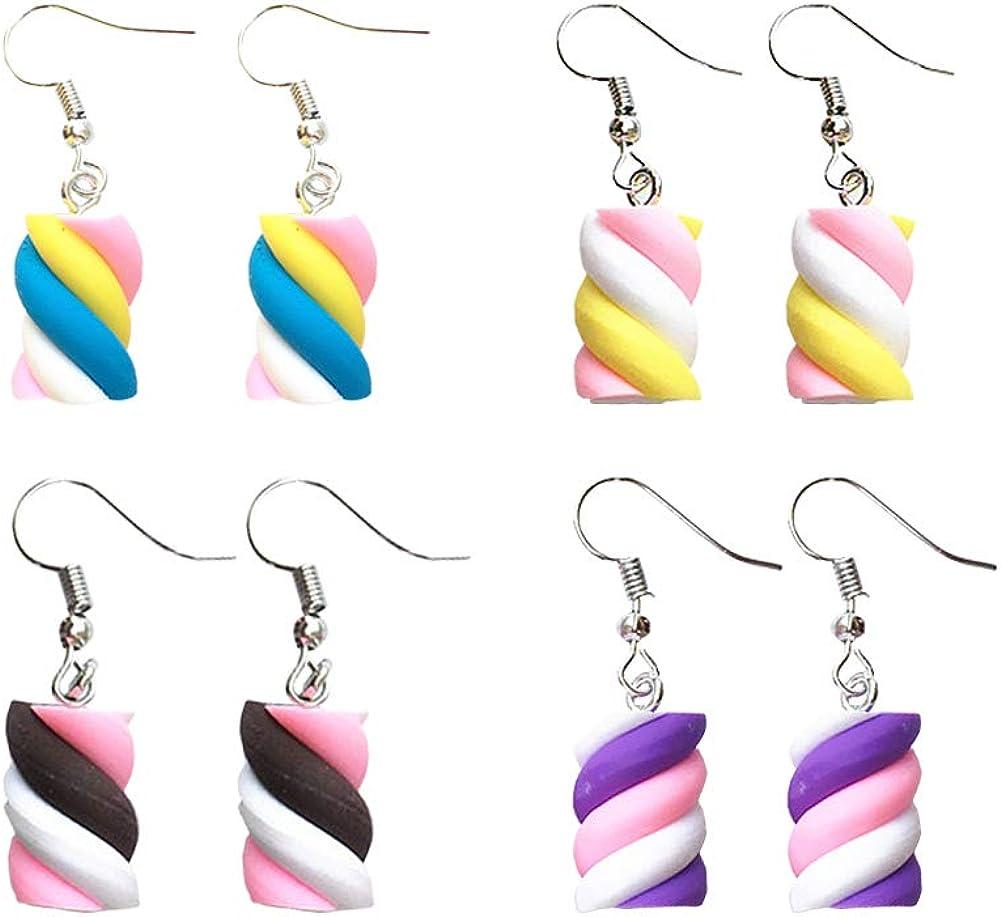 Creative Cute Dangle Earrings Korean Geometric Food Marshmallow Earring Sweet Cute Funny Candy Color Trend Jewelry