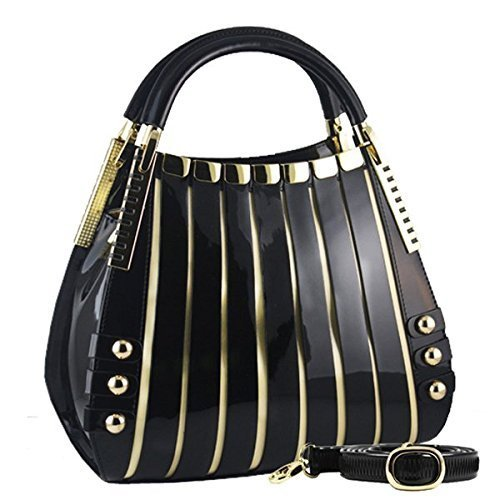 BRAVOHANDBAGS-Womens-Irina-Signature-Series-Leather-Handbag-Medium-Black