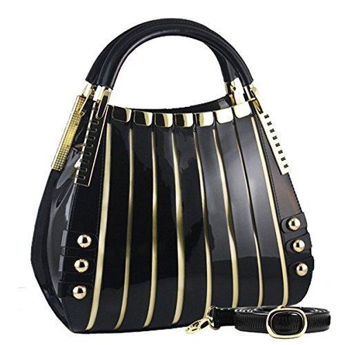 BRAVOHANDBAGS-Womens-Irina-Signature-Series-Leather-Handbag-Medium-Black