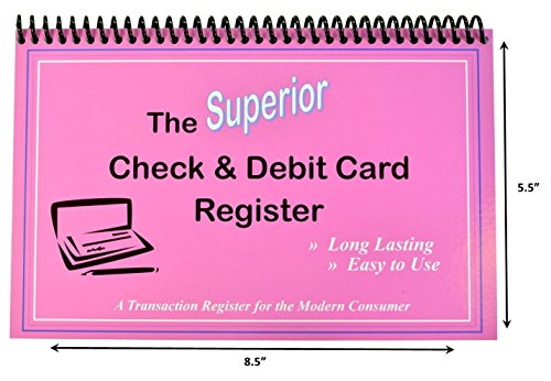 The Superior Check and Debit Card Register W I D E edition - Pink