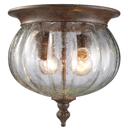 Z-Lite 516F-WB Belmont Outdoor Flush Mount Light, Aluminum Frame, Weathered Bronze Finish and Clear Seedy Shade of Glass Material
