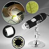 Toontor 20X~800X 2MP USB Digital Microscope Endoscope 2.0 Mega Pixels Magnifier 8LED (Black)