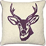 Catherine Lansfield Home Stags Head Embroidered Cushion Cover, Mulberry, 43 x 43 Cm