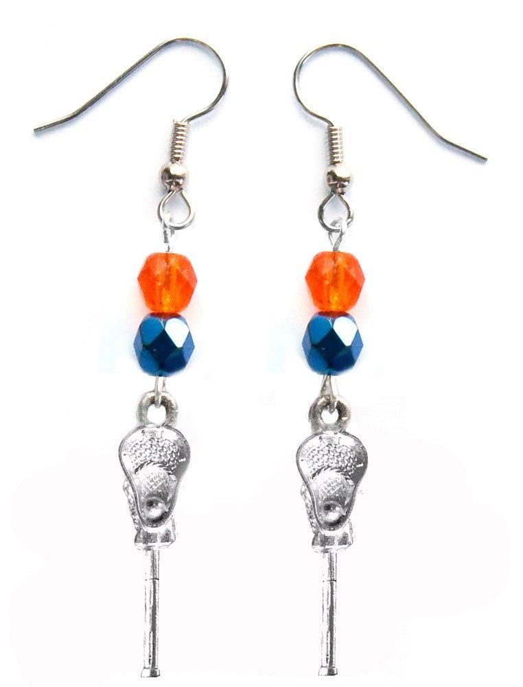 ''Lacrosse Stick & Ball'' Lacrosse Earrings (Team Colors Orange & Navy Blue)