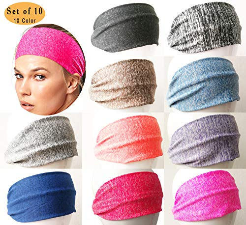 FAITH YN Set of 10 Yoga Headbands for Women Sport Workout Head Scarf Elastic Wicking Hairband [C-Group Color]