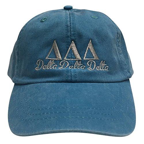 Delta Delta Delta Tri Delta (S) Bright Blue with Gray Thread Sorority Baseball Hat Cap Greek Letter Adjustable - Frat Strap