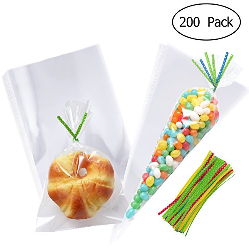 (TOYMYTOY Clear Cellophane Candy Bags Cone Treat Cello Gift Bags with Colorful Ties for Wedding Holiday Party Favor)