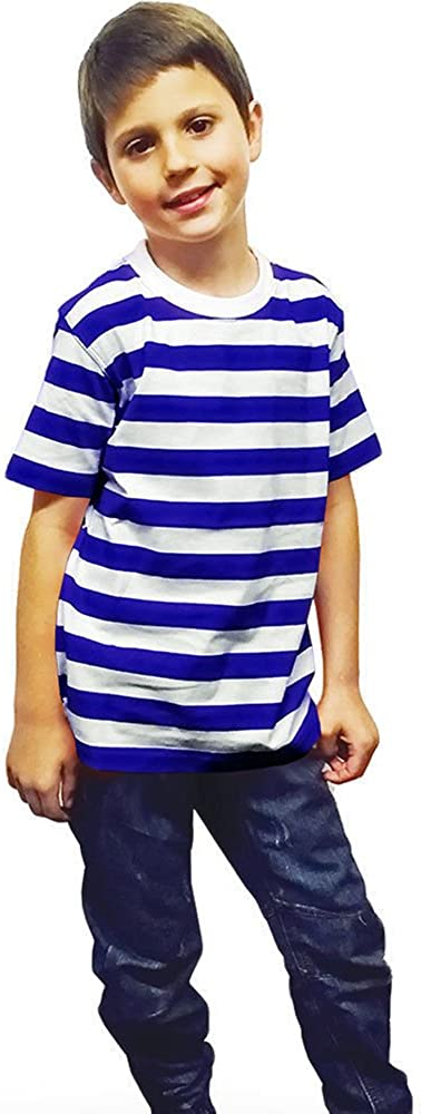 GirlzWalk Kids Unisex Striped T-Shirt Children Red Black Blue and White Stripe Girls Book Week Top from 5 to 13 Years Old