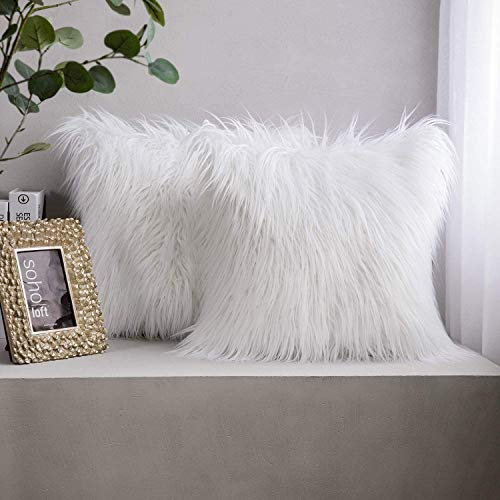 Phantoscope Set of 2 New Luxury Series Merino Style Faux Fur Throw Pillow Cushion Cover