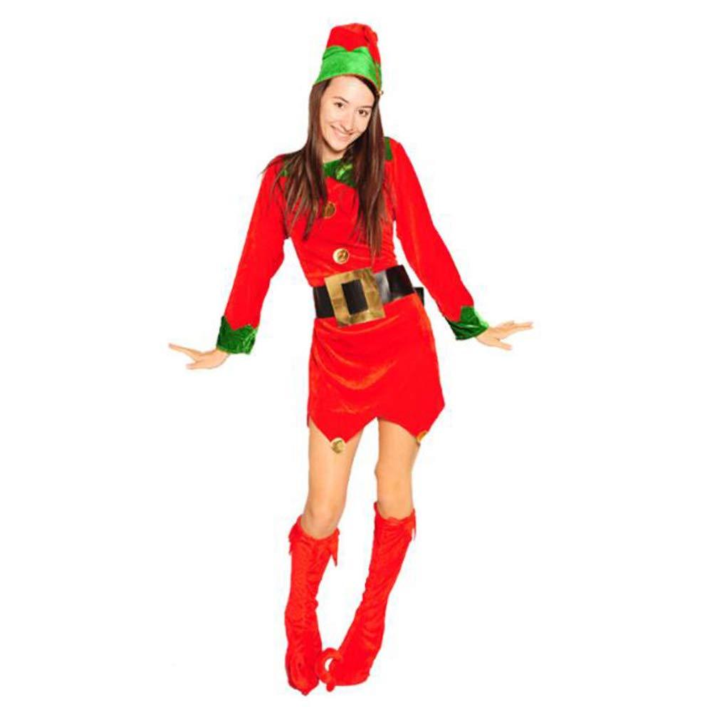 WANG-LONG Weihnachtskleidung Weihnachtskostüm Clown Weihnachtsmann Kind Erwachsene Männlich Weiblich Gold Samt Urlaub Anzug Kostüm Cosplay Kostüm Weihnachten Kleid Weihnachtsfeier,Female