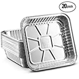 Propack Square baking Pans 8''x8'' Disposable Aluminum Foil Baking Tins For Baking, Cooking, Broiling, Roasting Pack of 20
