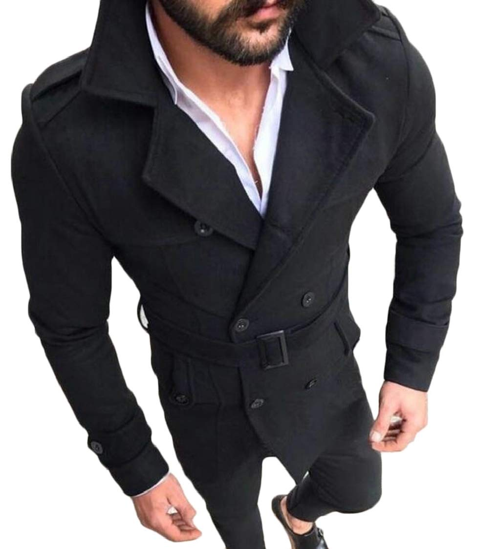 XQS Mens Double Breasted Lapel Long Sleeve Faux Suede Trench Coat Black L