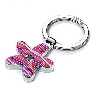 Llavero flor, metal fundido/esmalte, cromado brillante, estampado a rayas, rosa