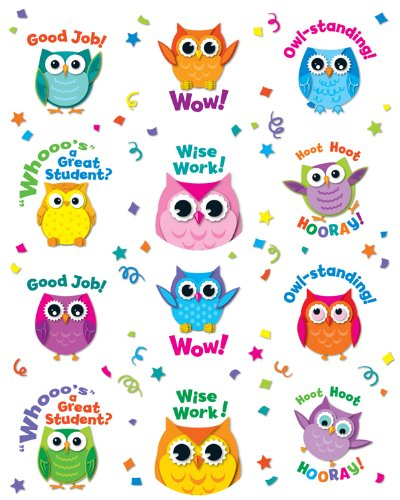Sticker Treasure - Carson Dellosa Colorful Owl Motivators Motivational Stickers (168144)