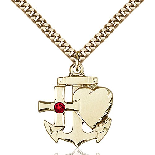 Gold Filled Faith Hope & Charity Pendant with 3mm July Red Swarovski Crystal 7/8 x 3/4 inches with Heavy Curb Chain by Bonyak Jewelry Saint Medal Collection
