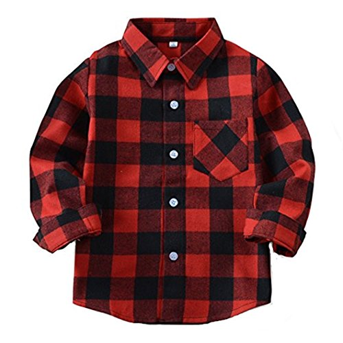 Grid Girl - Baby Boys Girls Button Down Plaid Flannel Long Sleeve Shirt (6T-7T(Tag Size 140), Color#13)