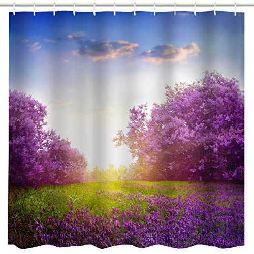 BROSHAN Country Tree Flower Shower Curtain, Garden Morning Flower Trees Lavenders Grass Under Sunny Blue Sky Scene Art Print, Nature Waterproof Fabric Bathroom Decor Curtain Set, 72 inches Long