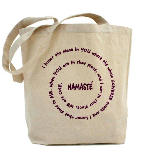 CafePress–Namaste E Suo Significato in Sacro Viola–Borsa di tela naturale, panno borsa per la spesa