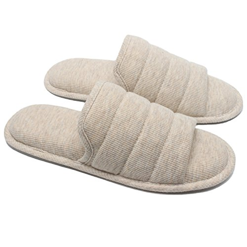 Ofoot Men's Knitted Breathable Cotton Slip on Flat Slippers For Men Open Toe Soft Memory Foam Indoor Sandals Shoes(X-Large / 12-13 D(M) US,Beige)