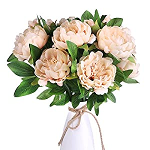 Louiesya Artificial Flowers 3pcs of Fake Silk Peony Flower Bouquet Floral Peonies Plants Decor for Home Garden Wedding Party Decor Decoration,Champagne 64