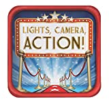 Creative Converting 24 Count Hollywood Lights Square Dinner Plates, 9, Red/Blue/White