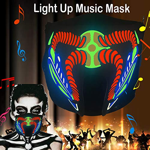 ShineWorld Music LED Party Mask with Sound Active for Dancing,Riding,Skating,Party and Any Festival (Dangerous)