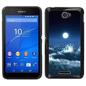 EJOY---Cubierta de la caja de protección para la piel dura ** Sony Xperia E4 ** --Brillante Nubes Luna Cielo Azul Cielo Espacio de Arte