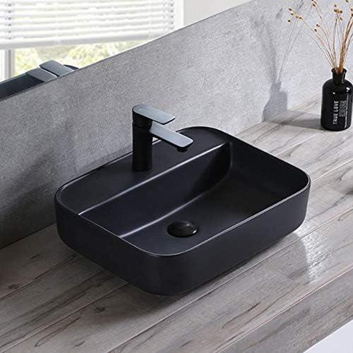 洗面ボウル 浴室の容器シンクシンプルなマットブラックの上カウンターセラミック洗面芸術盆地 浴室の台所の流し (Color : Black, Size : 50x40x14cm)