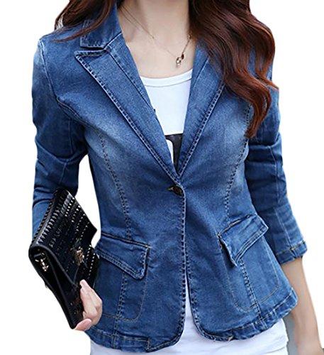 - Papijam Womens Slim Fit Faded Lapel One Button Blazer Coat Denim Jacket Light Blue M