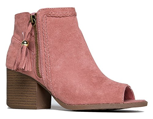 Vegan Faux Suede-PeepToe Stacked Block Heel-Braid Accent Bootie
