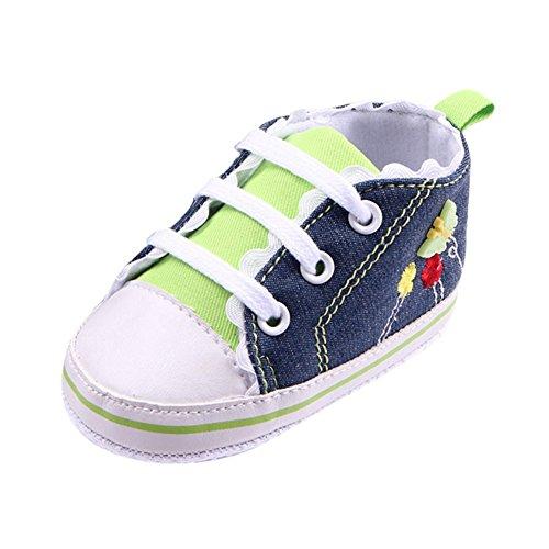 exiu bebé niña niño lienzo zapatos de encaje antideslizante suave única prewalker zapatos 0–12M verde verde Talla:0-6 meses verde