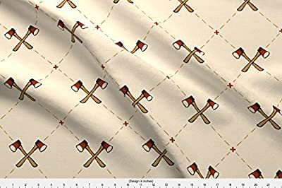 Spoonflower Camping Fabric - Camping Axes Hatchets Boys Men Outdoors Forties - by Katielukas Printed by The Yard