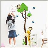 1 X XL! Affe Baum Growth Chart, Maßband Messlatte Wandtattoo Wandaufkleber Wandsticker Kinderzimmer Geschenk Bogen Gr. 60*90cm