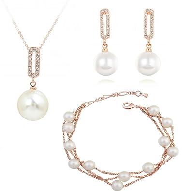 393ca23508d6 Cristal Swarovski Perlas blancas simuladas Juego de joyas Collar con  colgante 45 cm Pendientes Pulsera 18k Chapado en oro para mujer  Amazon.es   Joyería