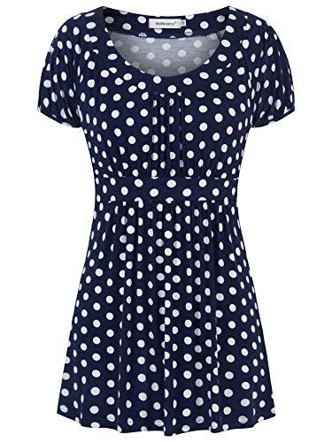 Helloacc Polka Dot Blouses for Women,Navy with White Dots Scoop Neck Flare Hem Long Blouson Tunic Gathered Waist Short Sleeve Cute Apparel Soft Skin Assymetrical Ladies Summer Clothes Babydoll Large L