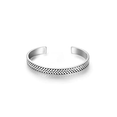 d0eb5932551 Image Unavailable. Image not available for. Color: Carleen Fearlessness 925  Sterling Silver Unisex Open ...