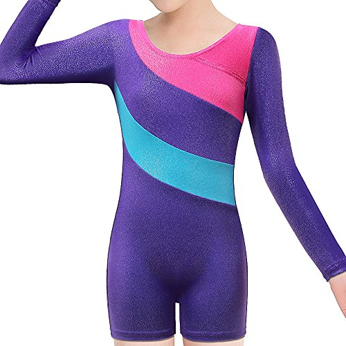 BAOHULU Toddlers Girls Gymnastics Dance Leotards-One-piece Sparkle Stripes & Stiching Athletic Clothes Purplelongsleeve 140(8-9Y)