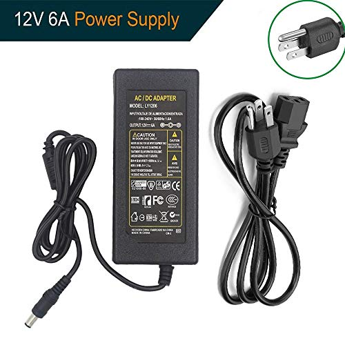 LEHOU 12v6a Power Supply LEHOU LED Power Supply 12volt 6amp 72watt Power Adapter 12V 6A DC for LED Strip Light,Rope Light,Wireless Router,ADSL Cats,Security Cameras and other Low Voltage Device
