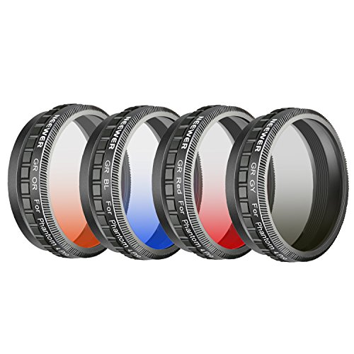 Neewer Camera Lens Graduated Color Filter Kit for DJI Phantom 4 Pro Drone Quadcopter: Graduated Orange Grey Filter Made of HD Optical Glass and Aluminum Alloy Frame Red Blue