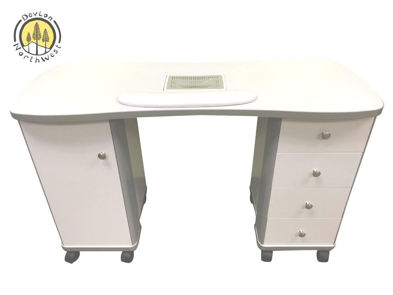 White Manicure Table W/ Fan Wheels 4 Pull Out Drawers 1 Cabinet Nail Table