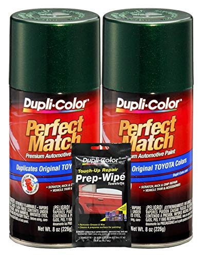 Dupli-Color Dark Green Mica Toyota Exact-Match Automotive Paint - 8 oz, Bundles Prep Wipe (3 Items)